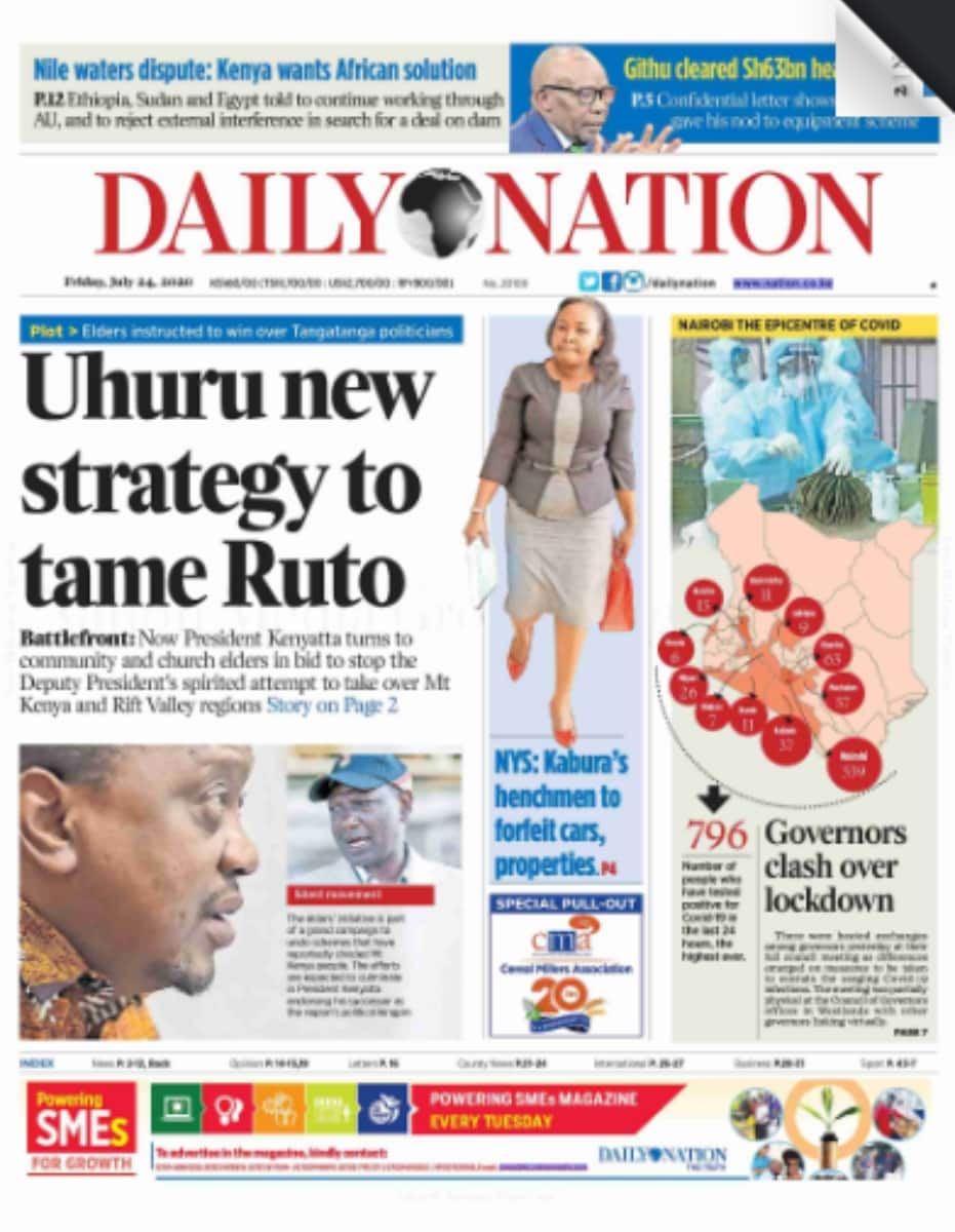 Kenyan newspapers review for July 24: Uhuru unleashes new strategy to tame Ruto's growing popularity