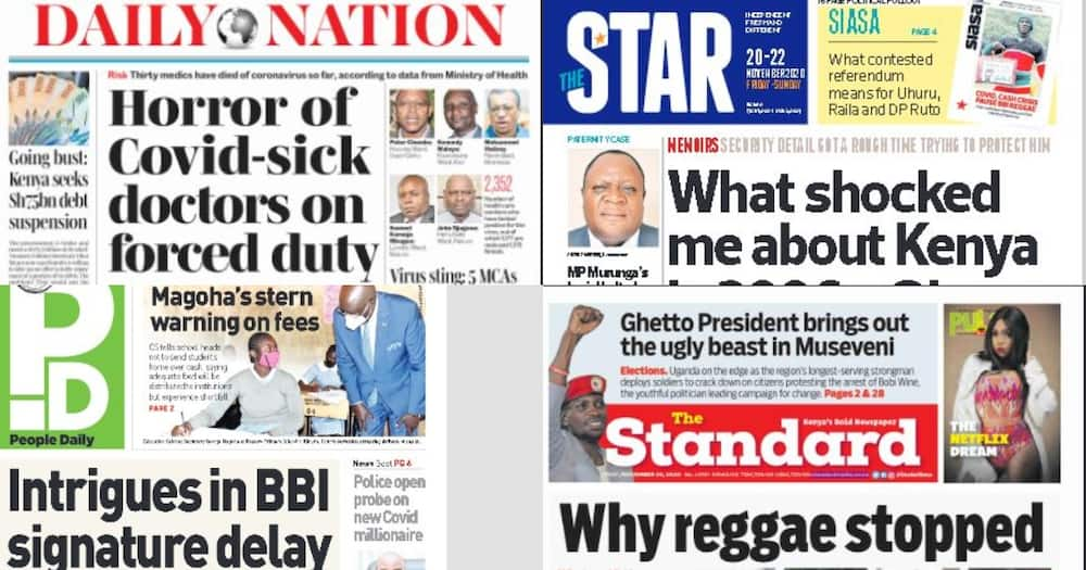 Kenyan newspaper review for November 20: Uganda on edge as strongman Museveni deploys soldiers to crack down on protesters