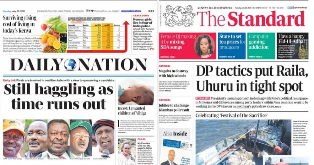 Newspapers Review: Screengrabs from Daily Nation, People Daily.