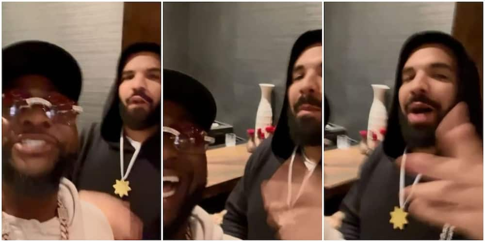 E choke: Davido hangs out with Canadian rapper Drake in new video