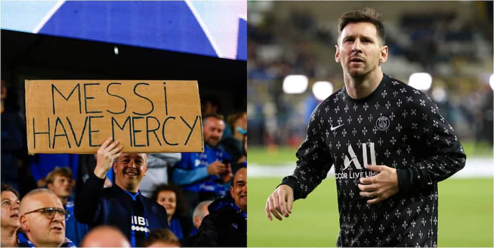 Club Brugge fans send an emotional message to Messi.