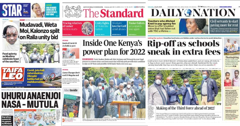 Top stories in newspapers today.