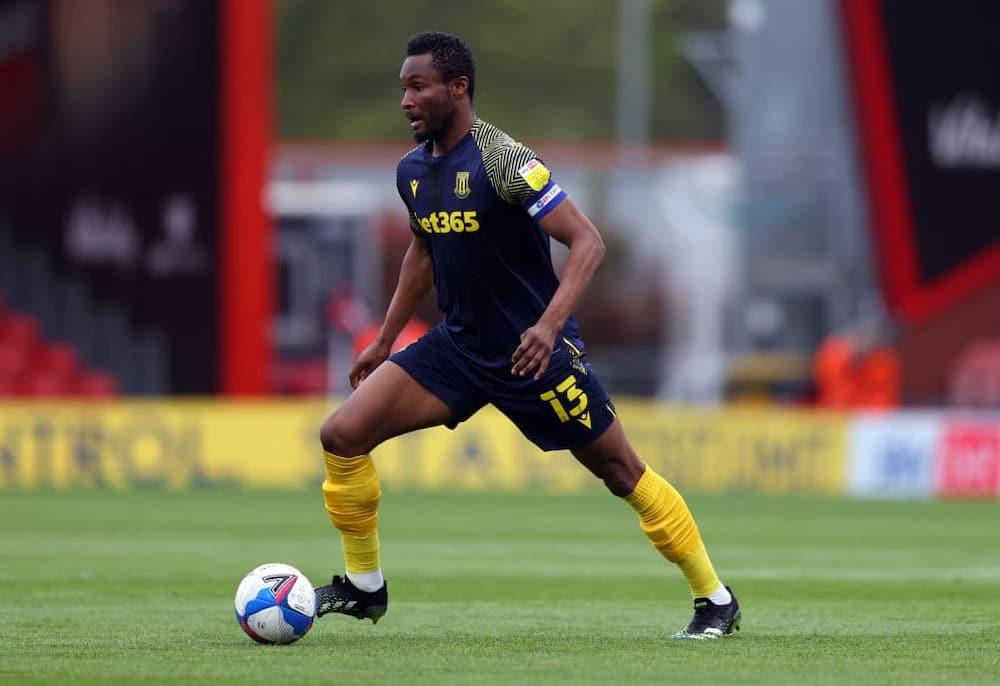 John Obi Mikel in action for Stoke City against Bournemouth in their Sky Bet Championship game in May 2021. Photo by Catherine Ivill.