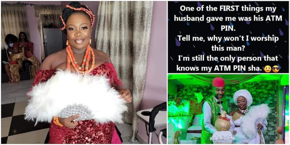 Nigerians react as lady whose bride price wasn't paid during wedding says hubby gave her his ATM pin but doesn't know hers