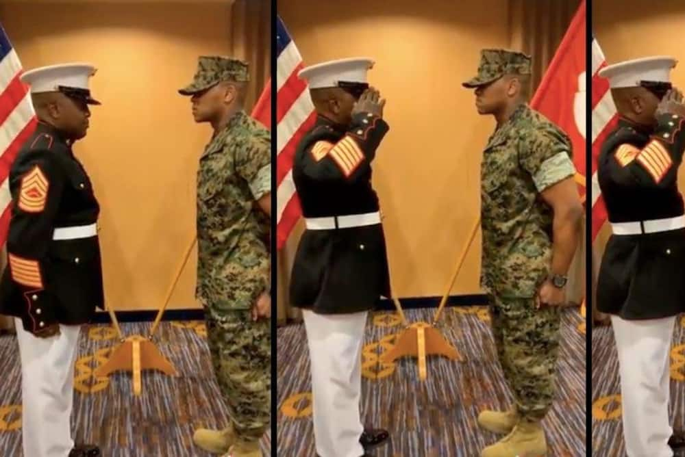 Emotional Father Gives First Salute to Son as Commissioned Military Officer