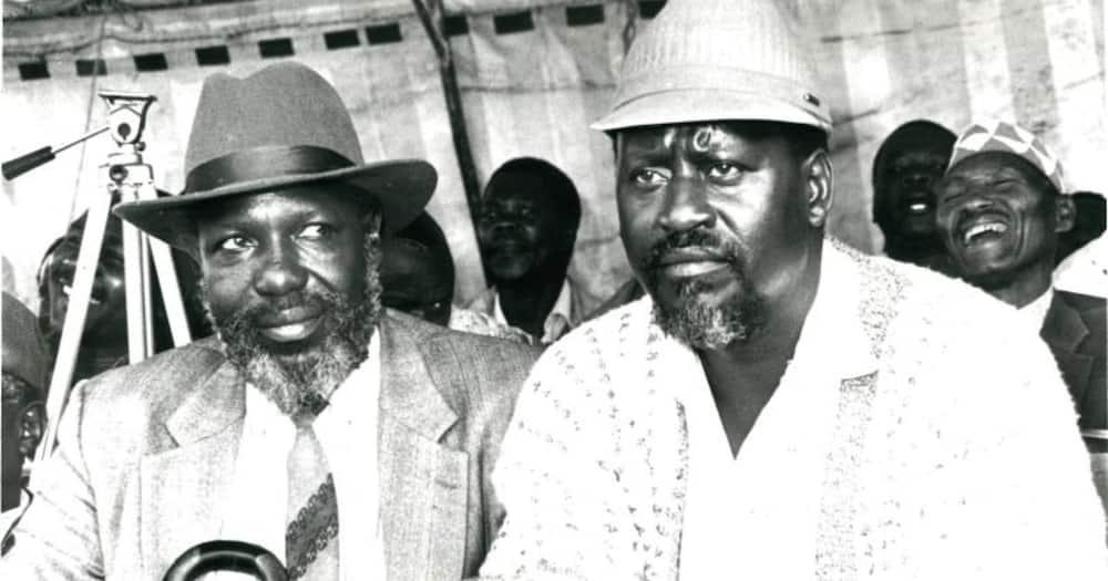 Dr. Fredrick Masinde (left) and Raila Odinga in 1994. Photo: The Standard.
