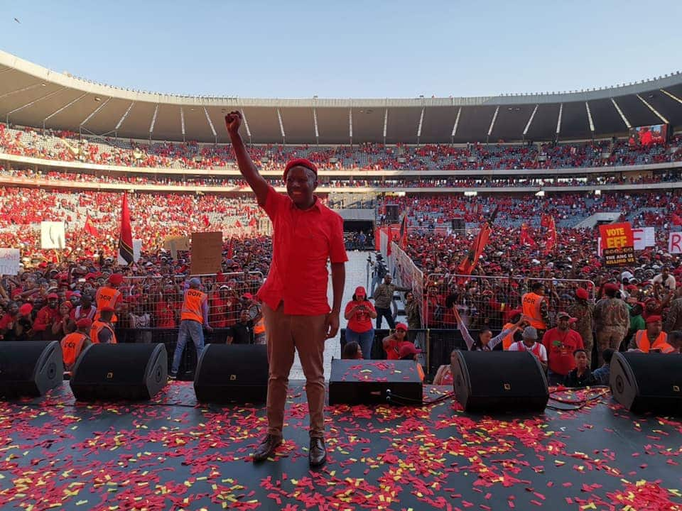 Julius Malema confronts electoral officials for asking wife to remove fake nails before voting