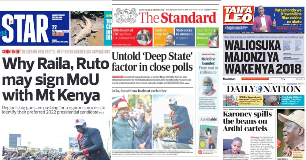 Newspapers Review for September 22: Ruto, Raila Trade Barbs as Each Take Credit of SGR