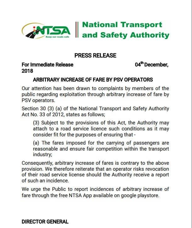 NTSA to withdraw license of PSV operators overcharging passengers
