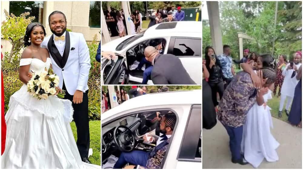 The groom cried when he was given the key. Photo: @gossipmillnaija.