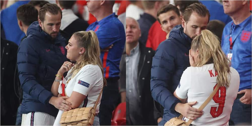 England star consoles sobbing wife in the crowd after England's painful loss to Italy.