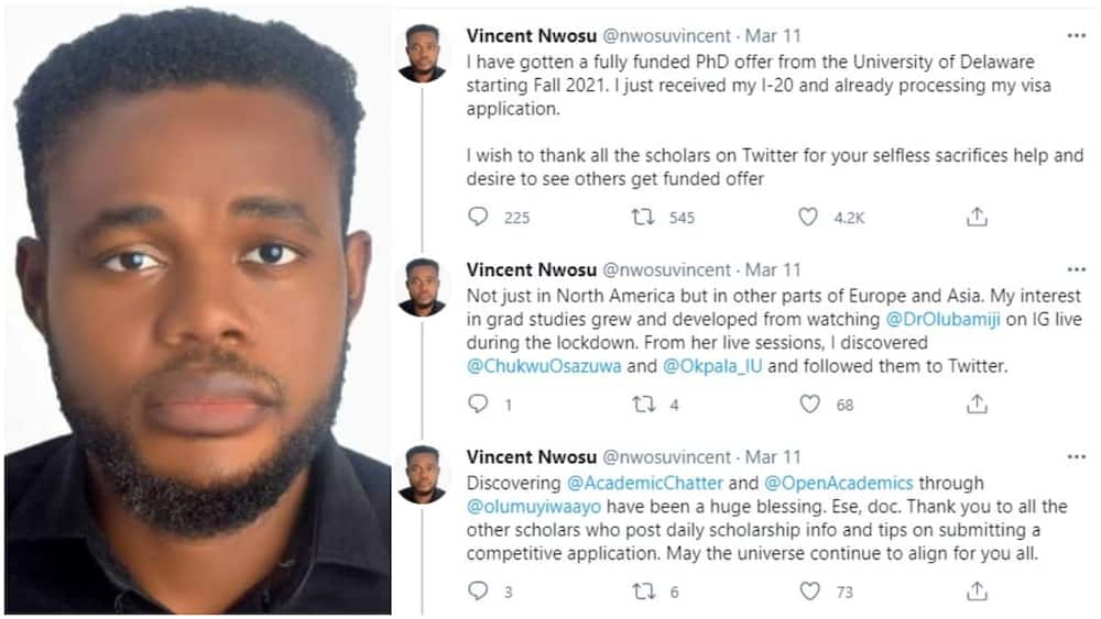 Nigerian man without masters get PhD scholarship in US, schools gives him money to bring his babe to America