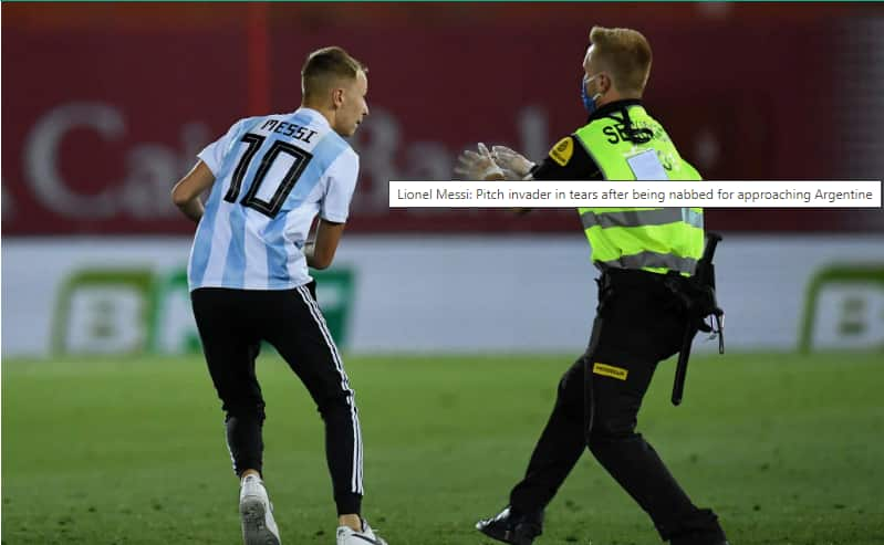 Pitch invader left in tears after being nabbed moments before hugging Lionel Messi