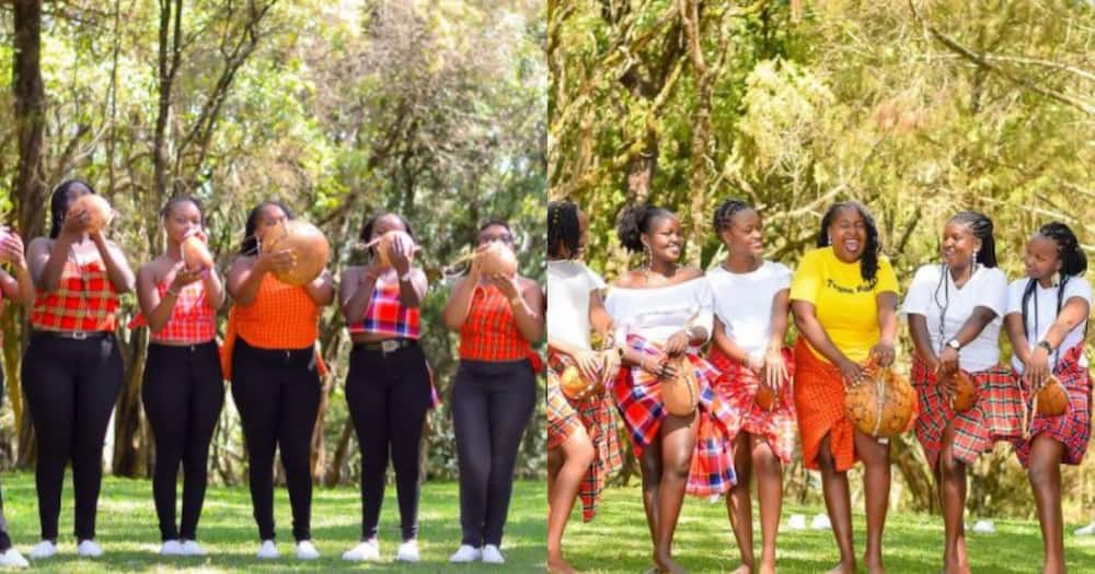 Joy Kiprono and her bridesmaids carrying gourds.