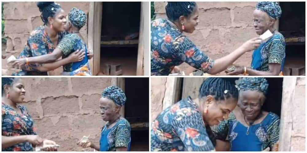 Young Nigerian lady stuns woman who is over 100 years old, visits and rains money on her, video goes viral.