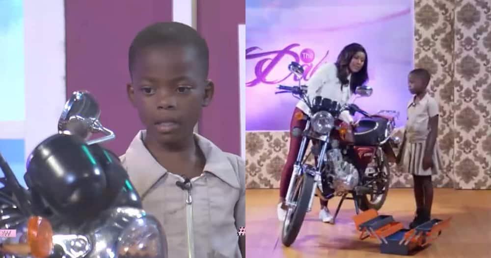 Ghanaian girl shared motorbikes knowledge on live TV. Photo: TV3 Ghana.