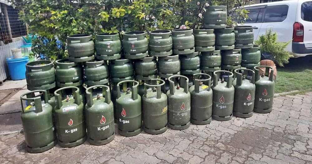 The K-gas cylinders at a refilling station.