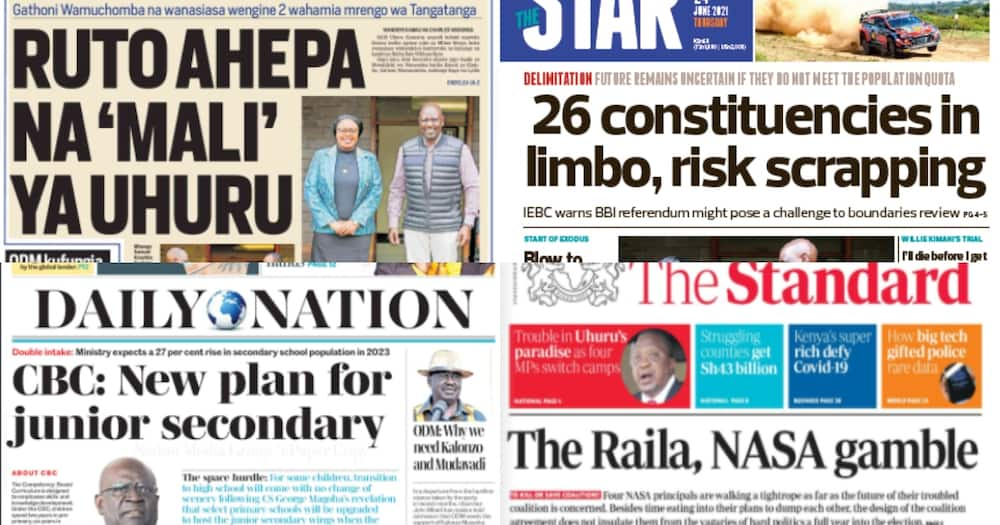 Kenyan newspapers Review. Photo: The Standard, Daily Nation, People Daily and Taifa Leo.
