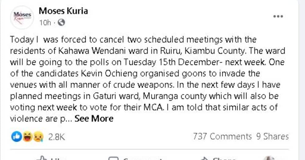 MP Kuria claims he was forced to cancel 2 rallies in Kahawa after goons invaded venues