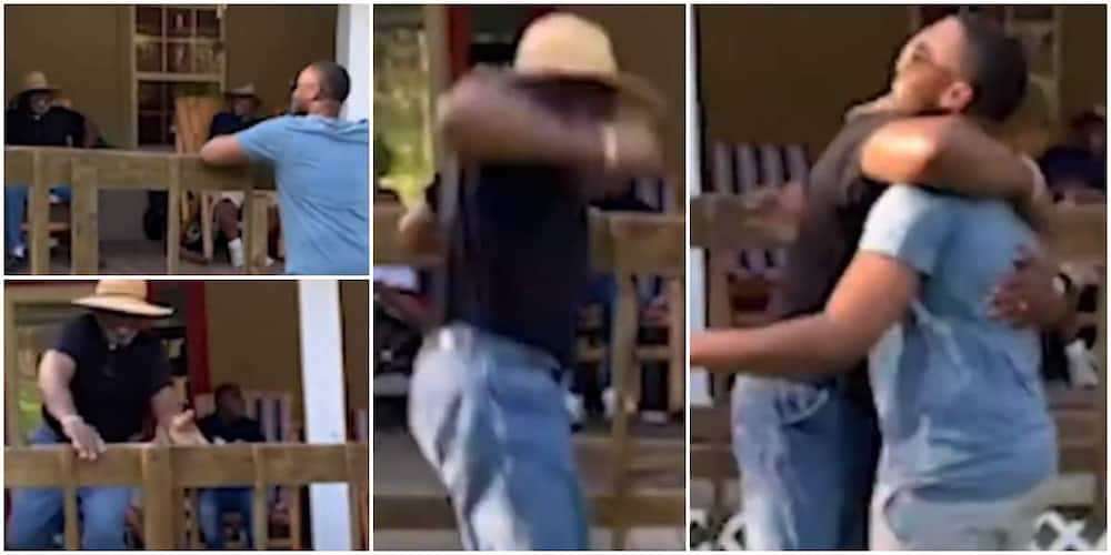 Touching video shows moment 70-year-old man leaped over fence to hug military son, melts heart