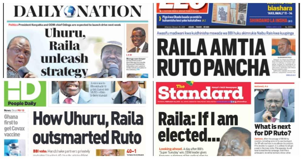 Kenya newspapers for February 25. Photo: UGC.