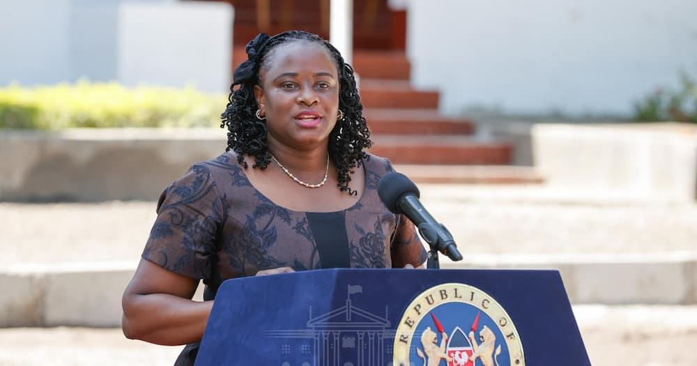 State House spokesperson Kanze Dena addressing journalists in Kisumu. Photo: State House Kenya.