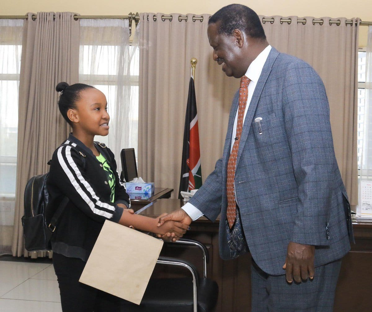 13-year-old Nairobi gymnast Wendy Waeni gets wish of meeting Raila after Raila Junior's intervention