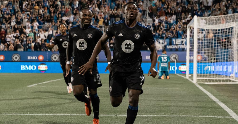 Victor Wanyama celebrates after scoring for Montreal Impact. Photo: Twitter/@clubdefootmtl.
