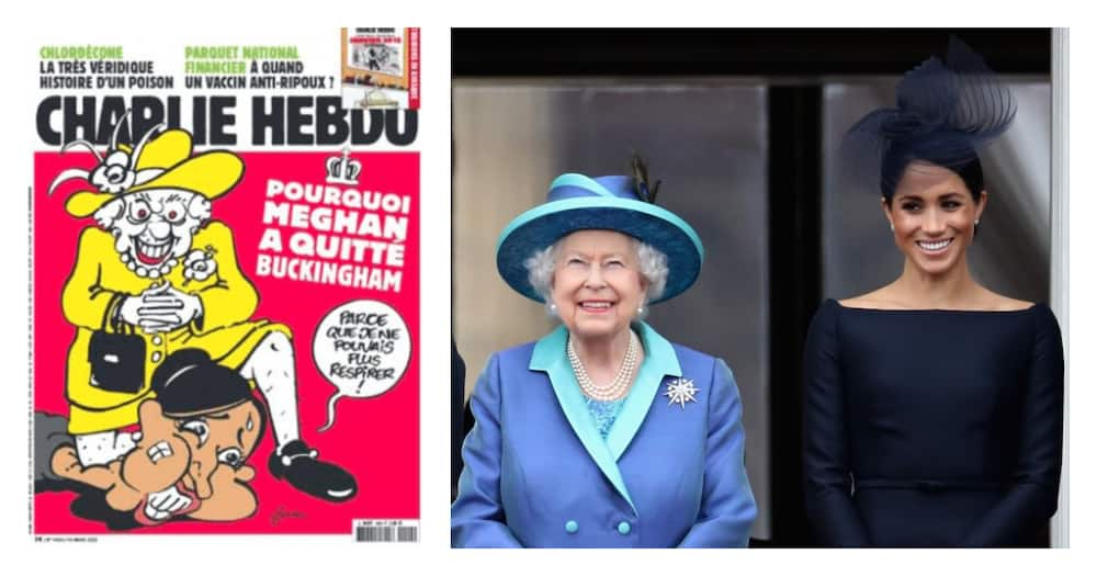Outrage over Charlie Hebdo's Cartoon showing Queen Kneeling on Meghan's Neck