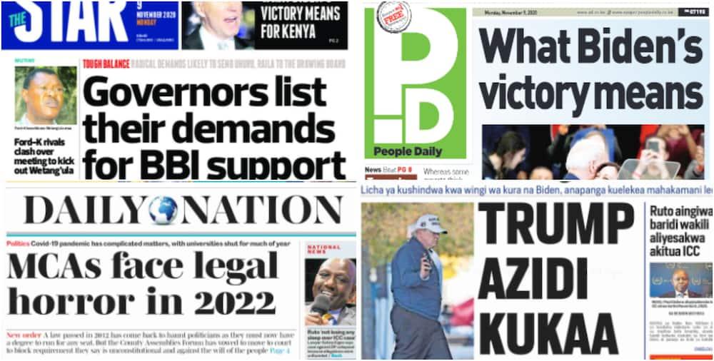 Kenyan newspaper review for November 9: Photo: UGC