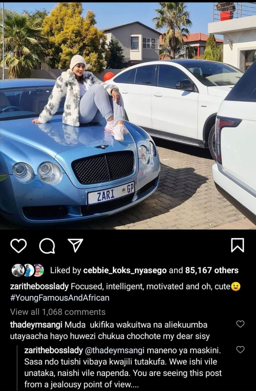Zari Hassan reaction to the fan who criticised her for living an extravagant lifestyle.