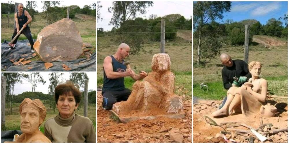 Young man makes beautiful woman sculpture from rock, beautiful photos wows social media, goes viral