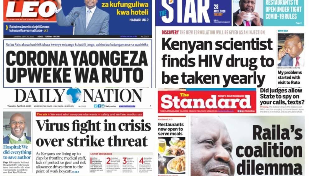 Kenyan newspapers review for April 28: Aden Duale says Uhuru Kenyatta, William Ruto have secret card that will betray Raila Odinga