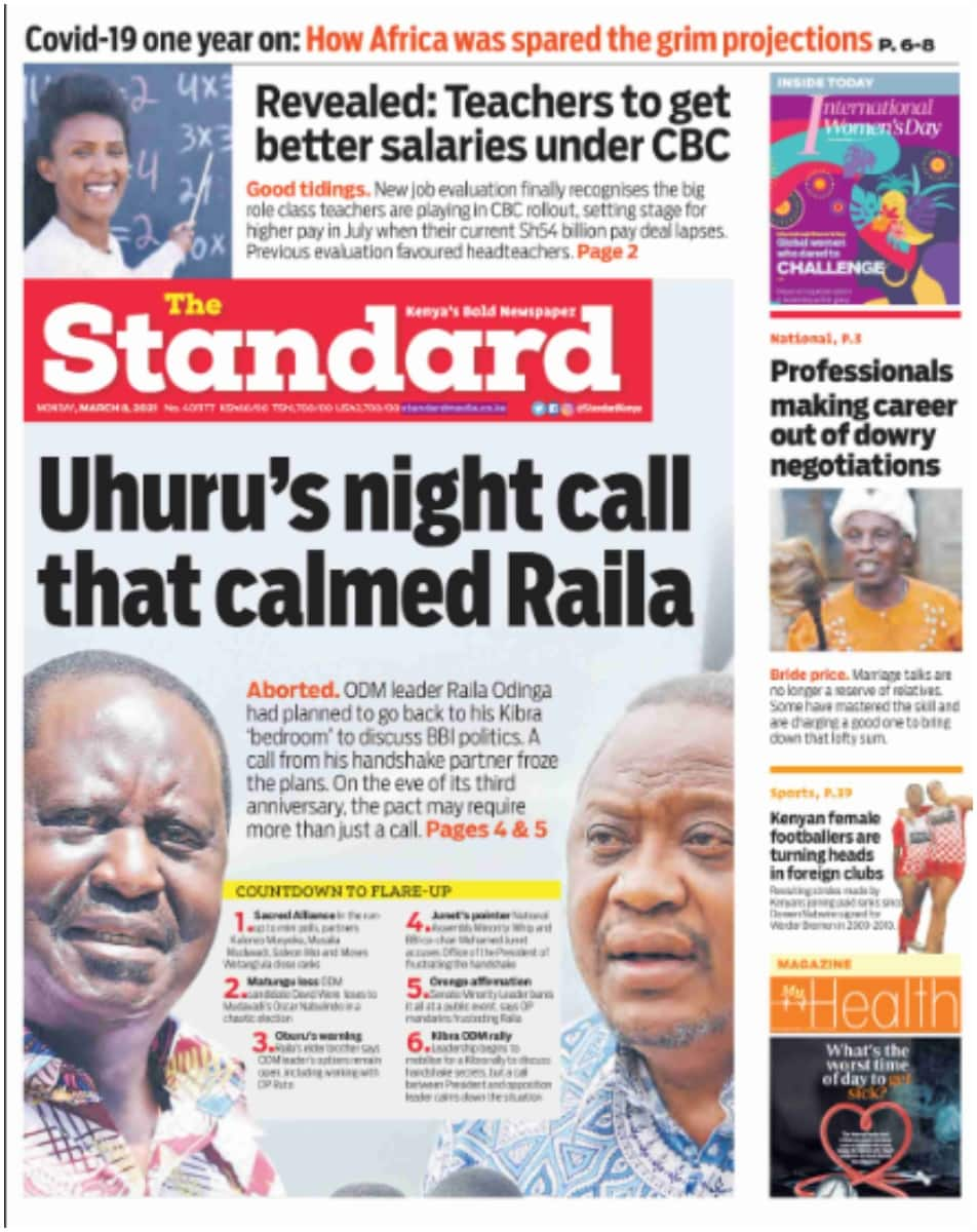 The Standard newspaper for March 8. Photo: UGC