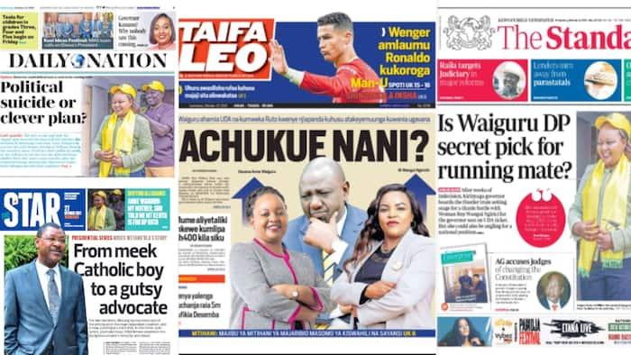 Magazeti Jumatano, Oktoba 27: Waiguru Asema Wakazi wa Kirinyaga Ndio Walitaka Asukume Wilibaro