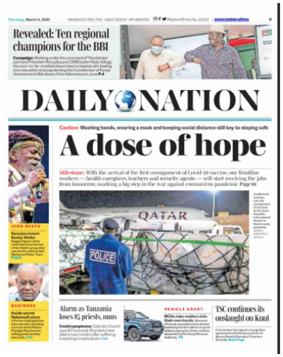 Daily Nation newspaper for March 4. Photo: UGC