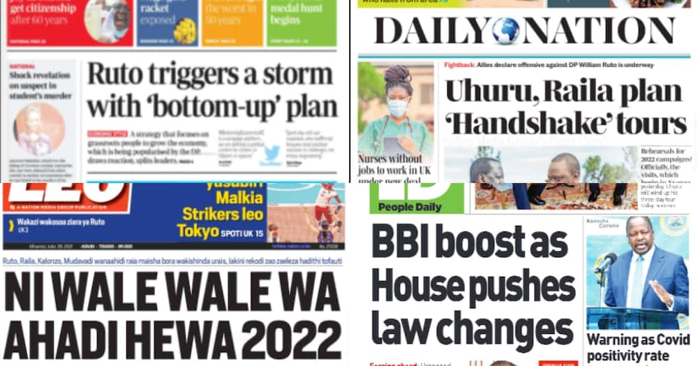 Newspaper review: Photo: Screengrabs from The Standard, Daily Nation, People Daily and Taifa Leo.