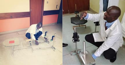 Kenyan medic praised for developing ingenious device to assist children with fractured limbs walk