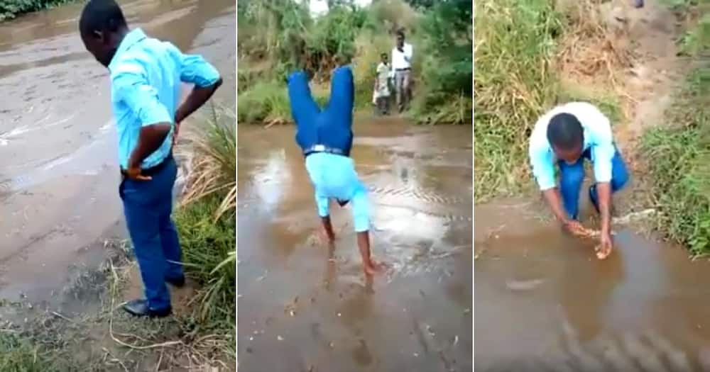 Viral Video of Schoolboy Crossing Riverbank by Hand Leaves Mzansi in Awe