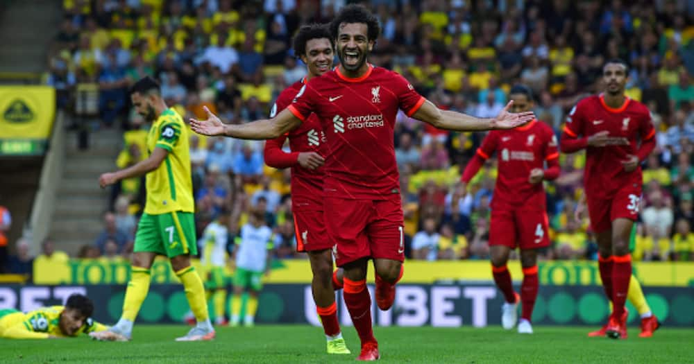 Mohamed Salah of Liverpool celebrates after scoring the third goal during the Premier League match between Norwich City and Liverpool at Carrow Road on August 14, 2021 in Norwich, England. (Photo by John Powell/Liverpool FC via Getty Images)