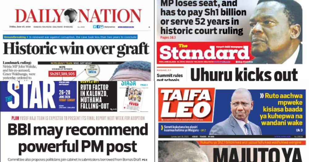 Kenyan newspapers review for June 26: Uhuru axes 6 more allies of William Ruto
