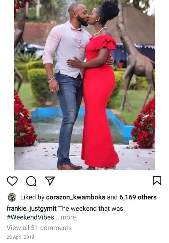 Netizens spot Corazon's reaction on intimate photos of Frankie, Maureen Waititu before breakup