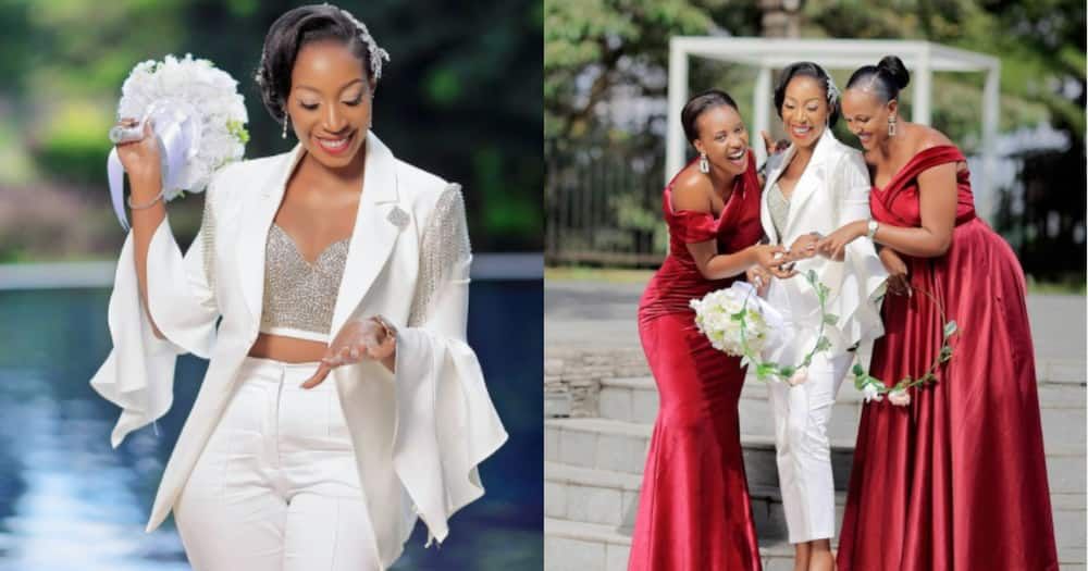 Beautiful bride wears white trouser suit on her wedding day