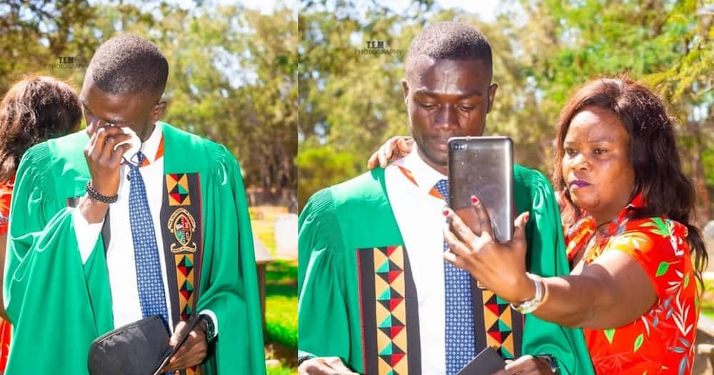 """Young Man Celebrates University Graduation at Father's Grave: """"I Came Here to Say Thank You Papa"""""""