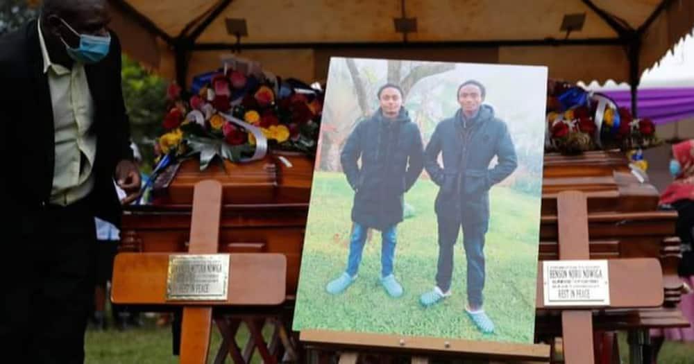 Caskets bearing the remains of the two Kianjokoma brothers. Photo: Amnesty Kenya.