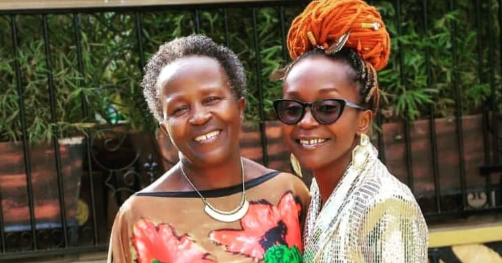 Celebrated Ugandan comedienne Anne Kansiime (R) together with her mother. Photo: Anne Kansiime.