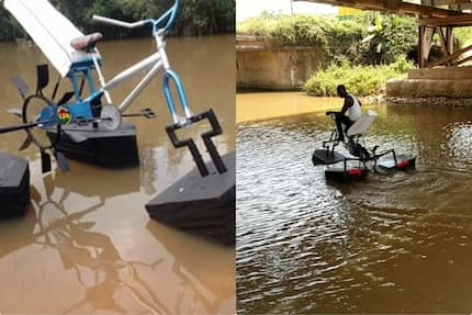 Meet 27-year-old talented student who has just built a bicycle you can ride on water