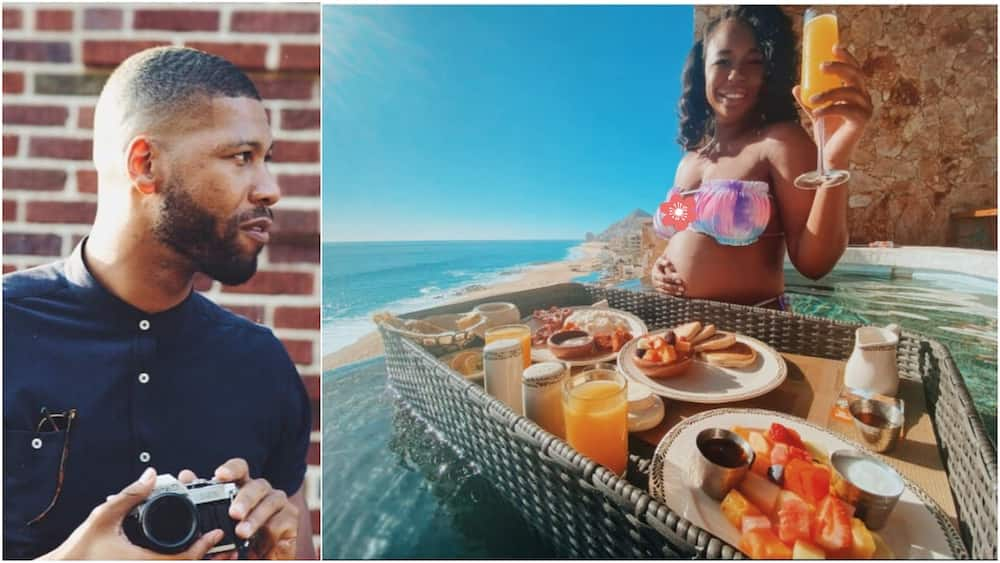 Man serves his pregnant wife food inside swimming pool, many react