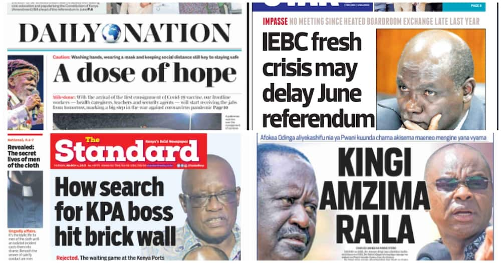 Kenyan newspaper review for March 4. Photo: UGC.