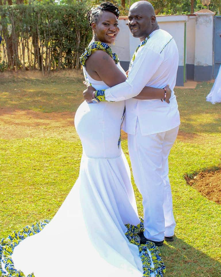 Kenyan woman shows off beautiful wedding dress her talented mum sewed for her